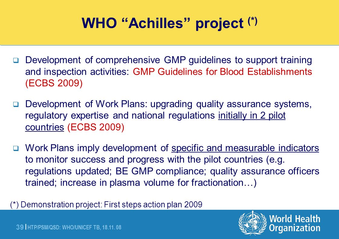 WHO Achilles project Action Plan (demonstration project)