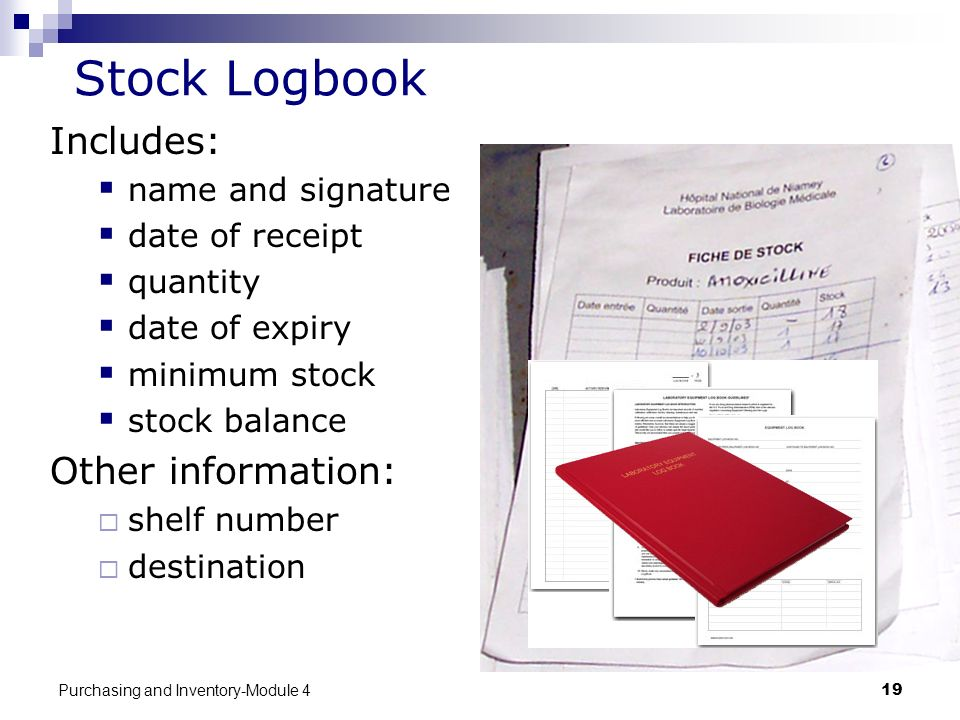 Stock Logbook Includes: Other information: name and signature