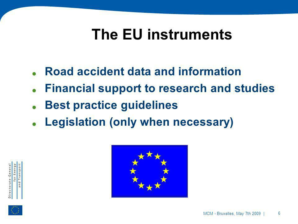 The EU instruments Road accident data and information