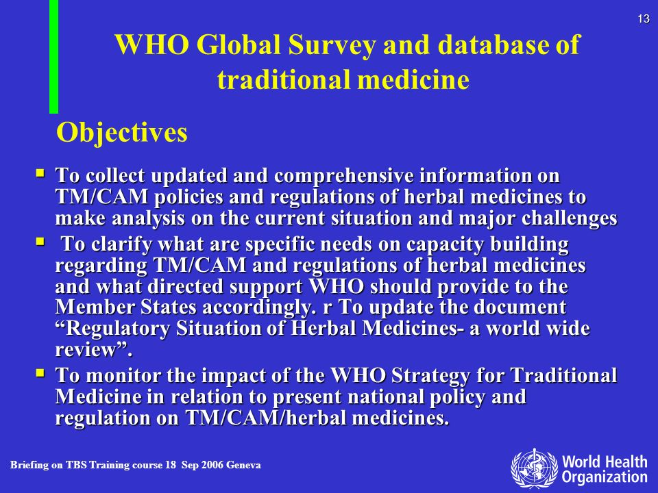 WHO Global Survey and database of traditional medicine