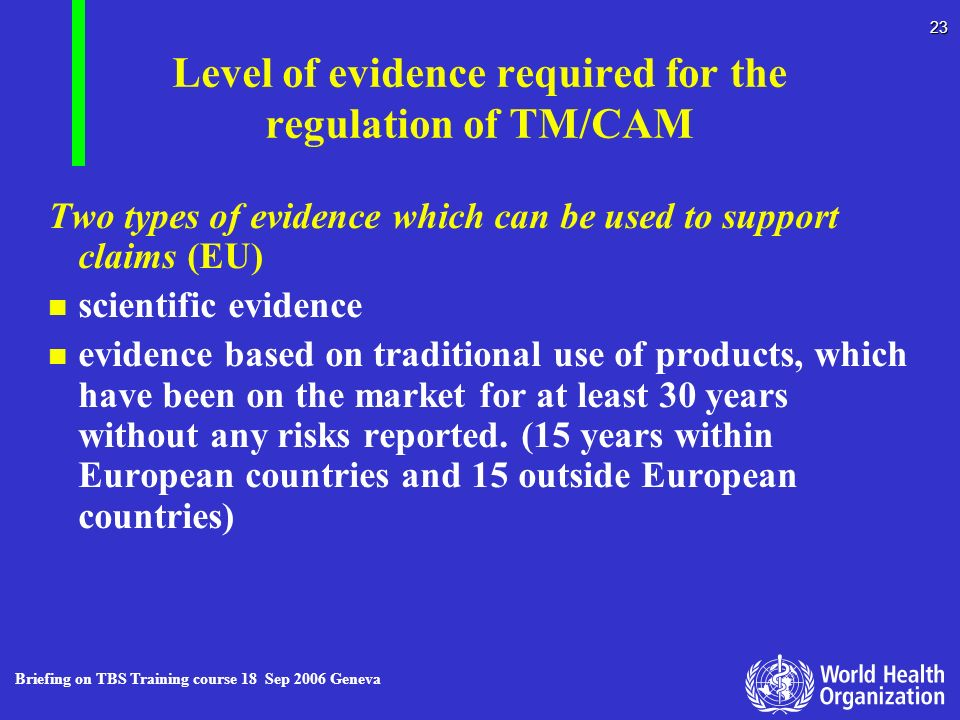 Level of evidence required for the regulation of TM/CAM