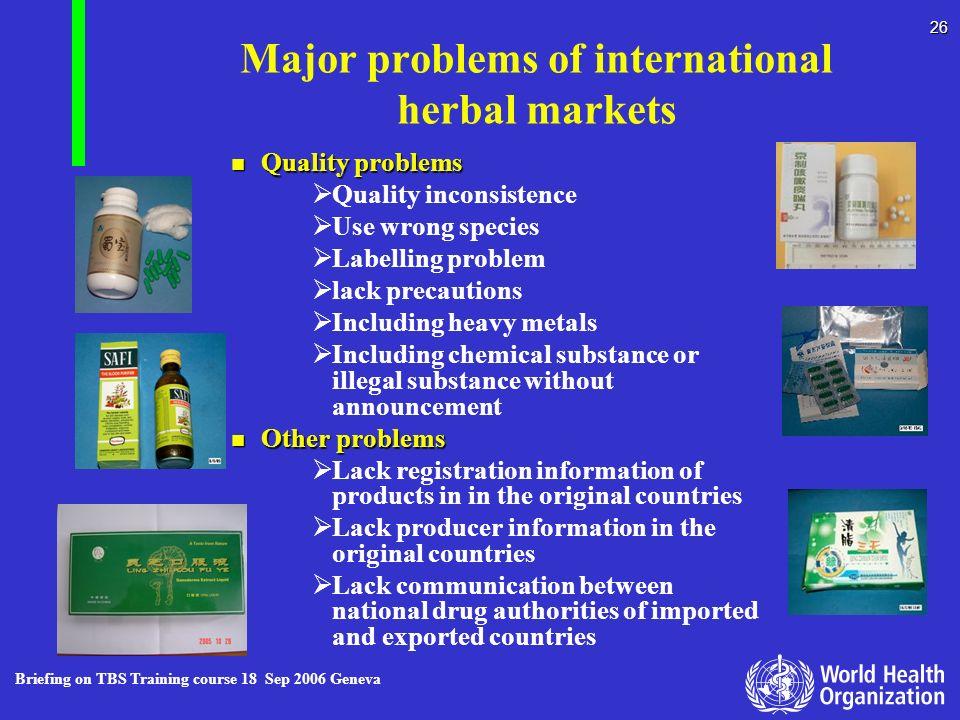 Major problems of international herbal markets