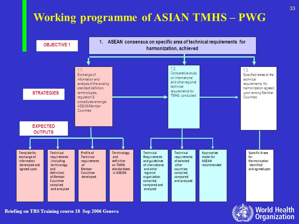 Working programme of ASIAN TMHS – PWG