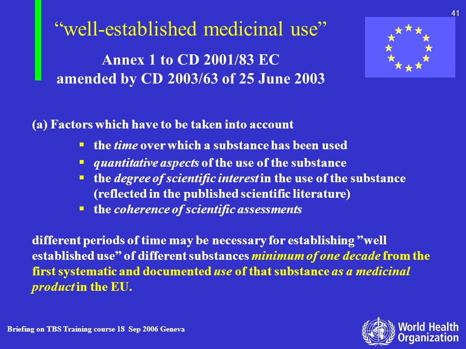 Annex 1 to CD 2001/83 EC amended by CD 2003/63 of 25 June 2003
