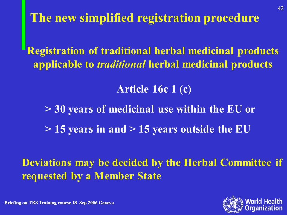 The new simplified registration procedure