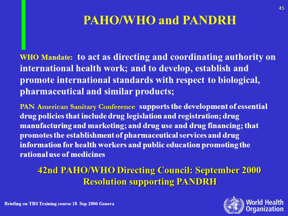 PAHO/WHO and PANDRH Resolution supporting PANDRH