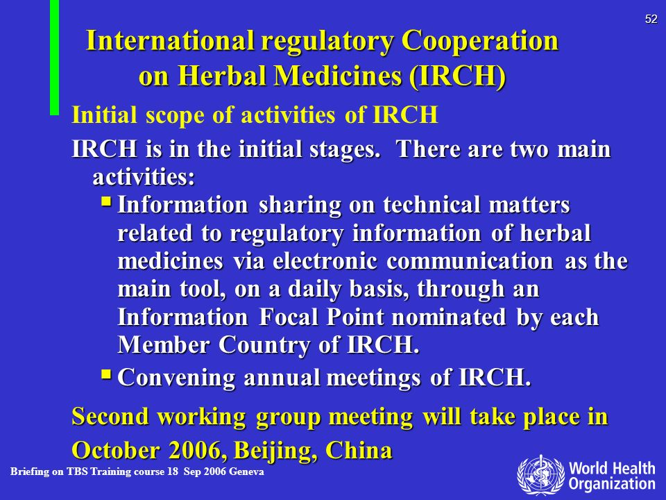 International regulatory Cooperation on Herbal Medicines (IRCH)