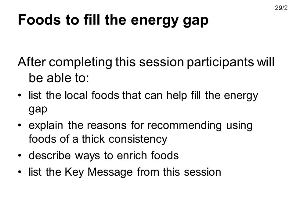 Foods to fill the energy gap