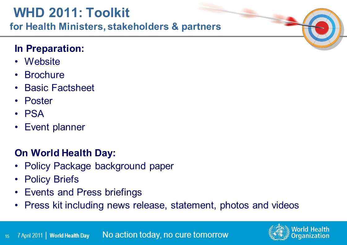 WHD 2011: Toolkit for Health Ministers, stakeholders & partners