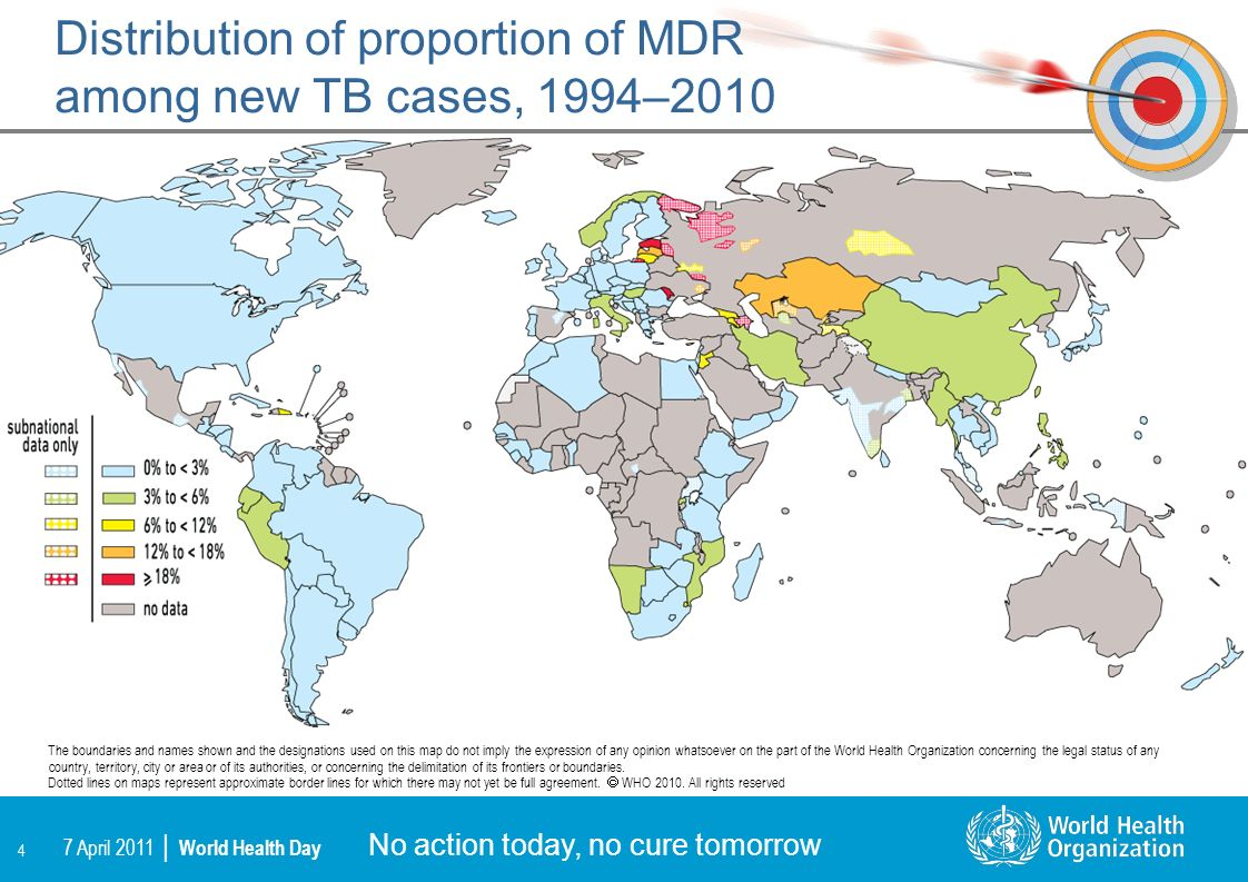 Distribution of proportion of MDR among new TB cases, 1994–2010