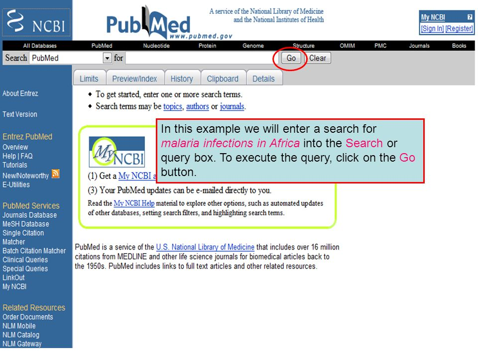 PubMed search box
