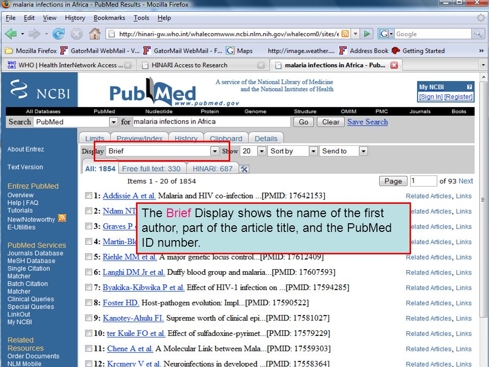Brief format 2 The Brief Display shows the name of the first author, part of the article title, and the PubMed ID number.