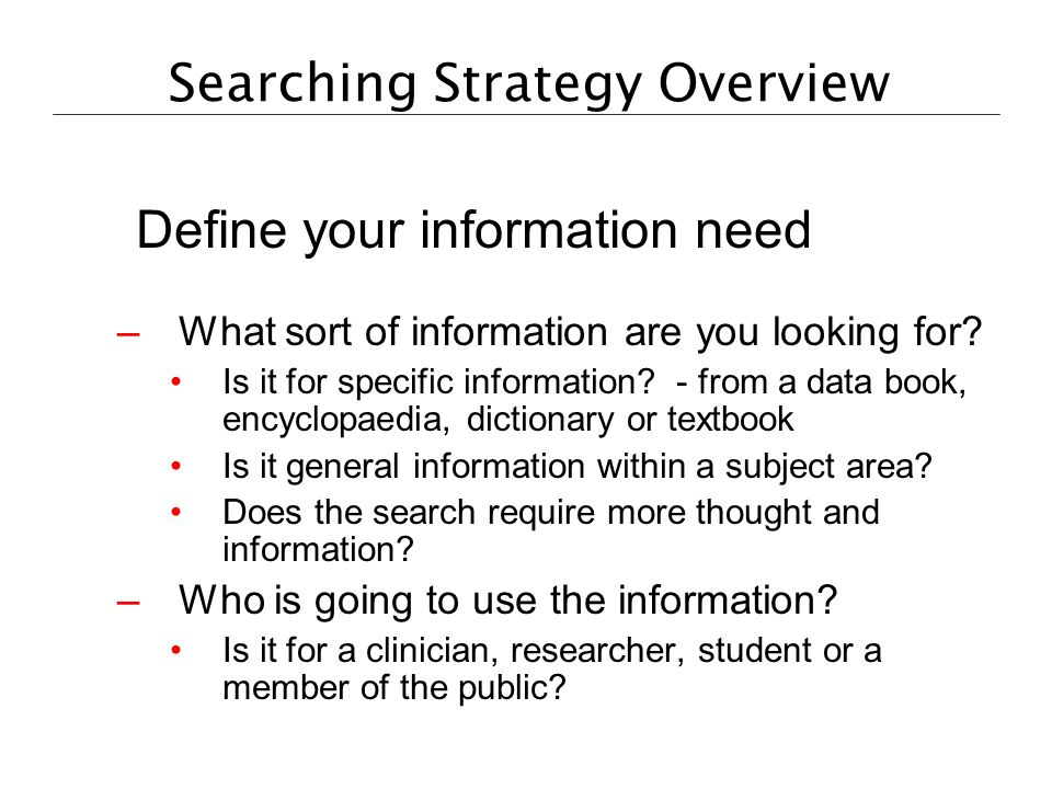Searching Strategy Overview