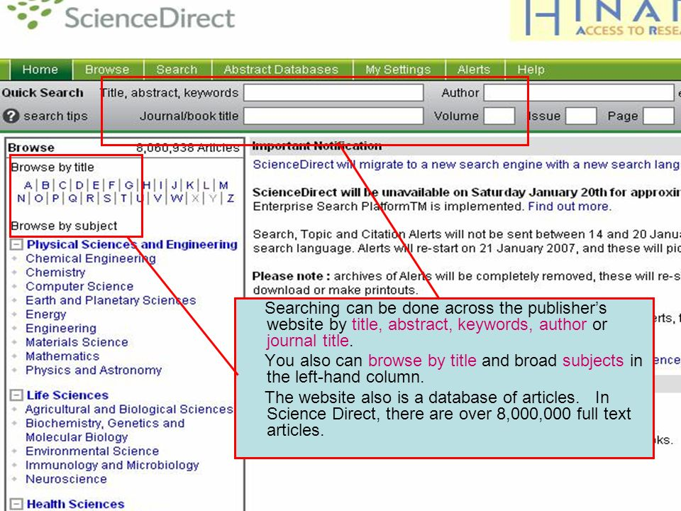 Searching – Science Direct