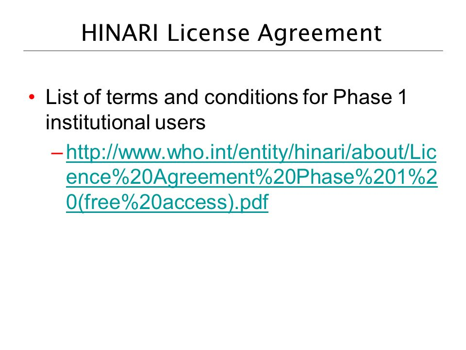 HINARI License Agreement