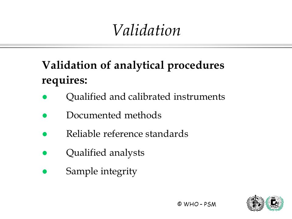 Validation Validation of analytical procedures requires: