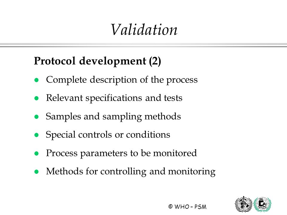 Validation Protocol development (2)