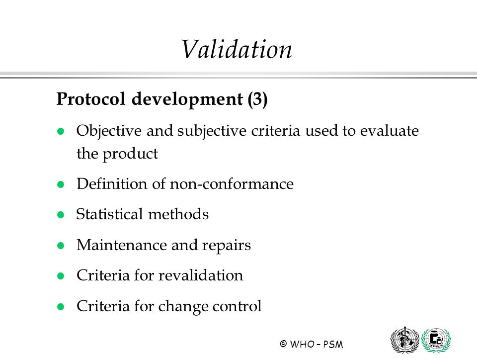 Validation Protocol development (3)