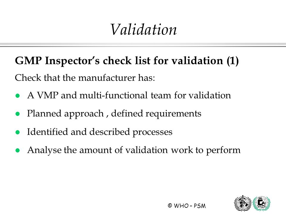 Validation GMP Inspector's check list for validation (1)