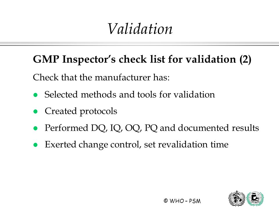 Validation GMP Inspector's check list for validation (2)