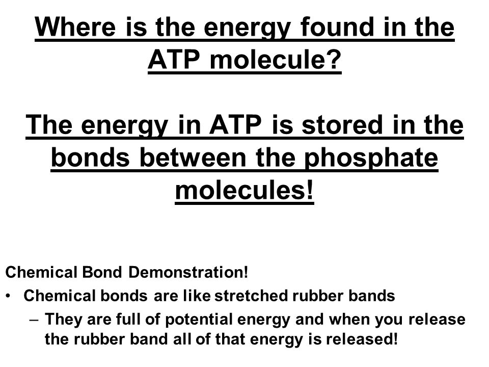 Where is the energy found in the ATP molecule