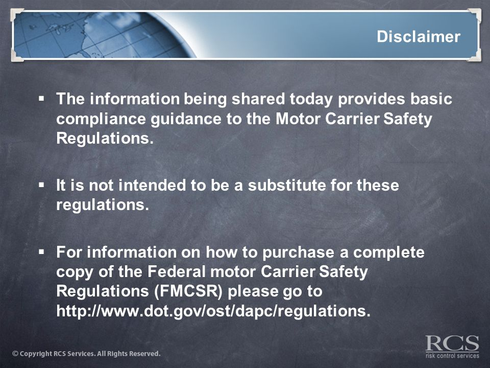 Operating a motor vehicle fleet ppt video online download for Federal motor carrier safety regulations
