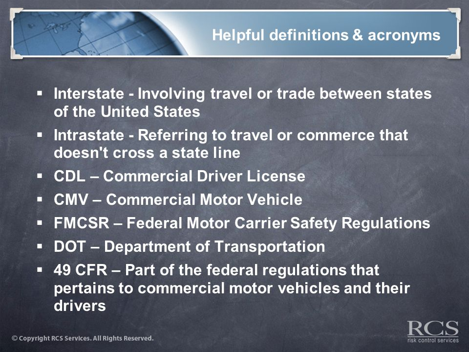 Operating a motor vehicle fleet ppt video online download for Who is subject to federal motor carrier safety regulations