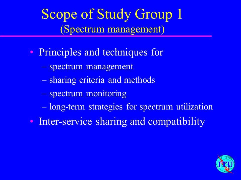 Scope of Study Group 1 (Spectrum management)