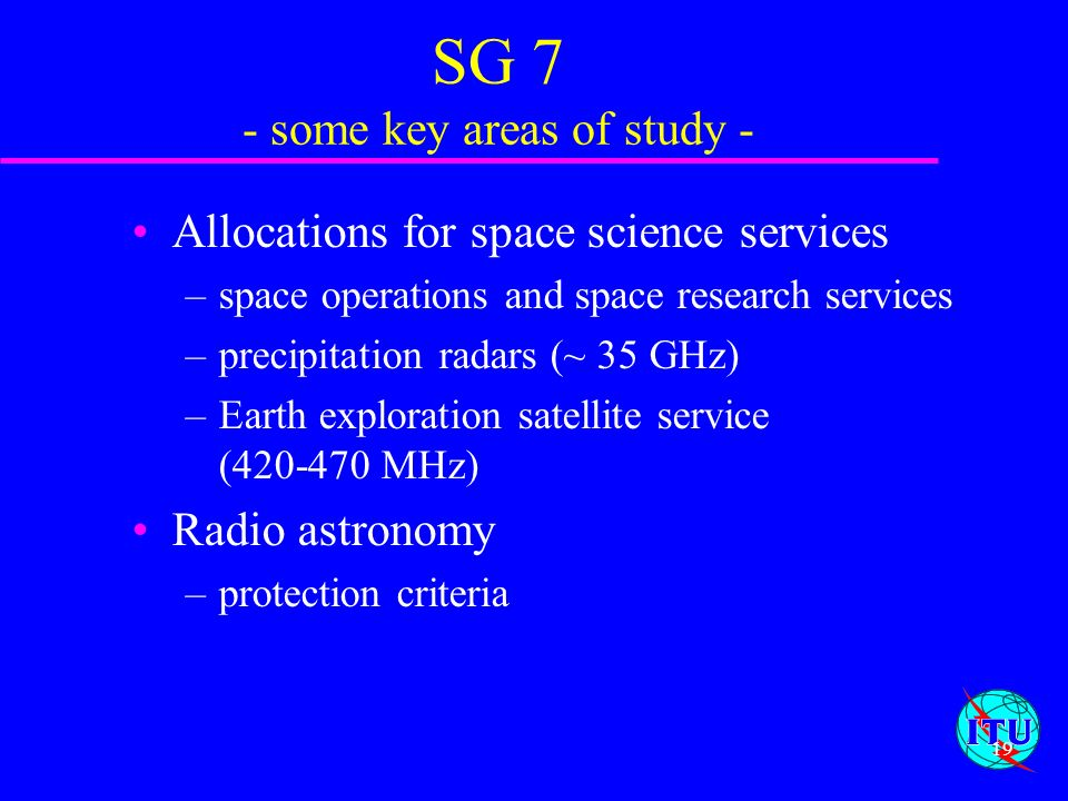 SG 7 - some key areas of study -