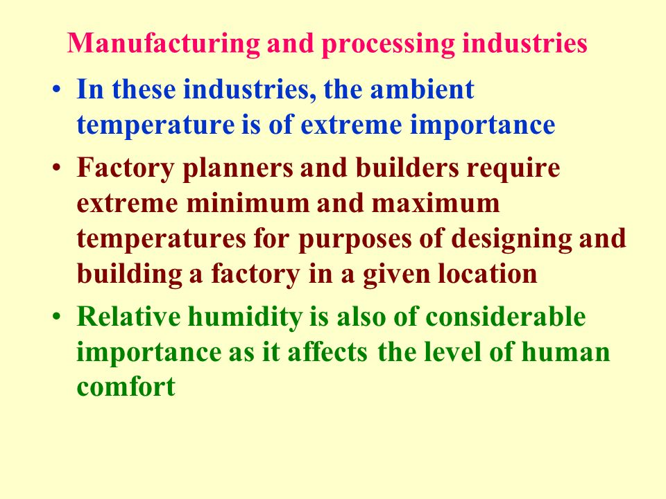 Manufacturing and processing industries