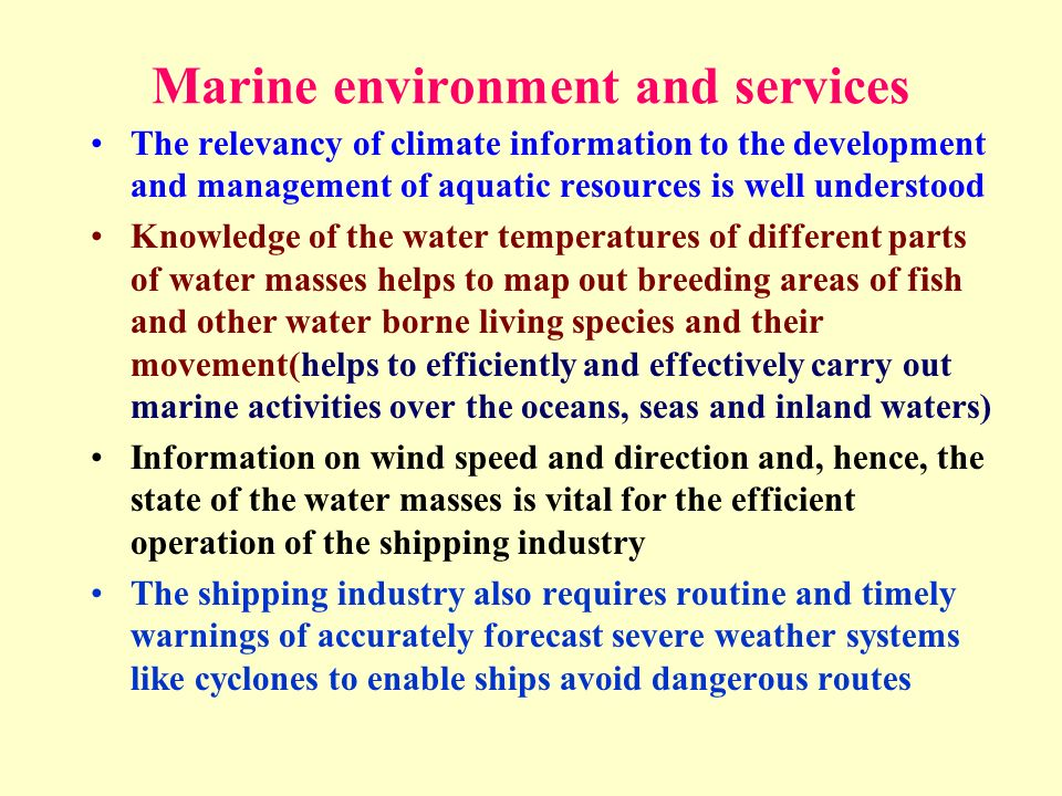 Marine environment and services
