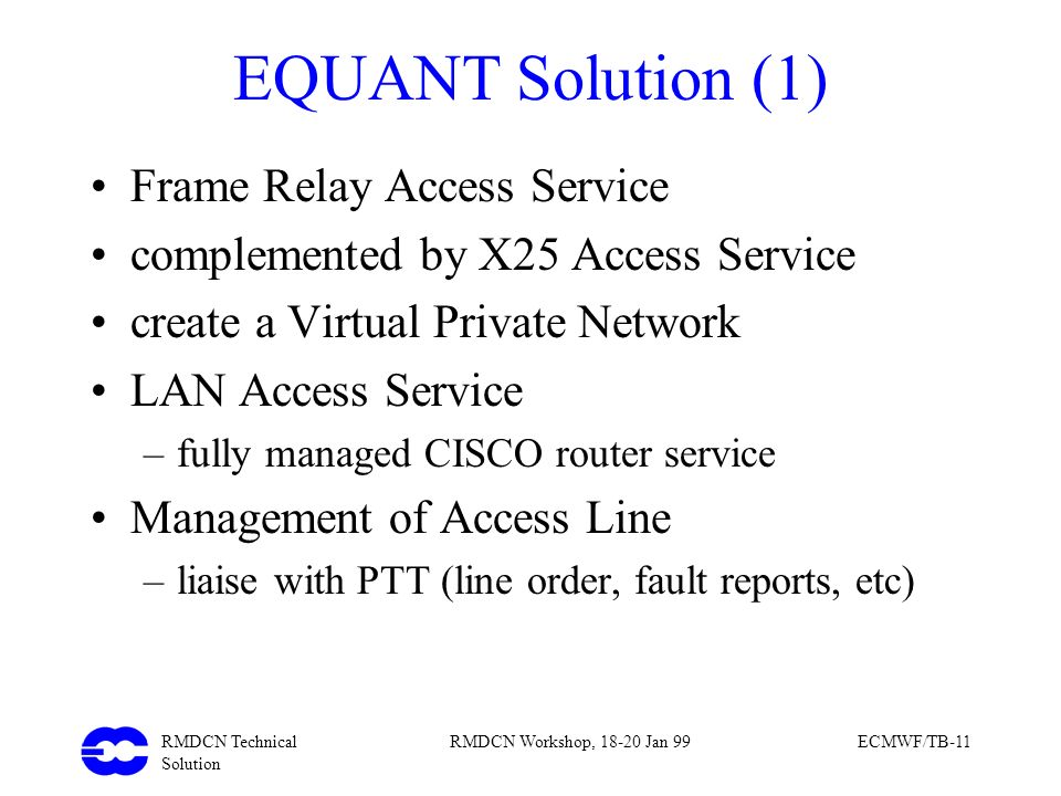 EQUANT Solution (1) Frame Relay Access Service
