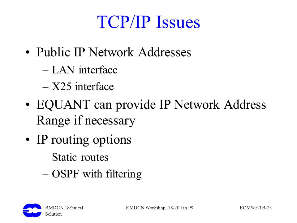 TCP/IP Issues Public IP Network Addresses