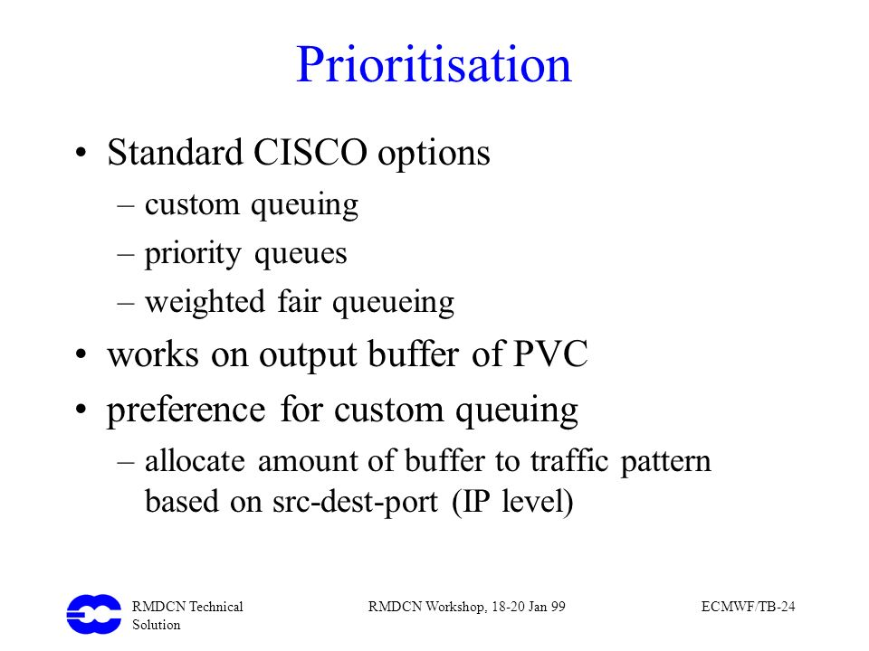 Prioritisation Standard CISCO options works on output buffer of PVC