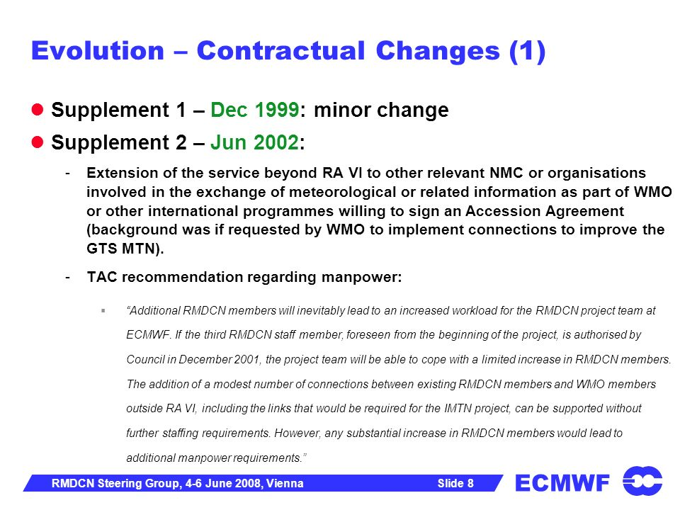 Evolution – Contractual Changes (1)