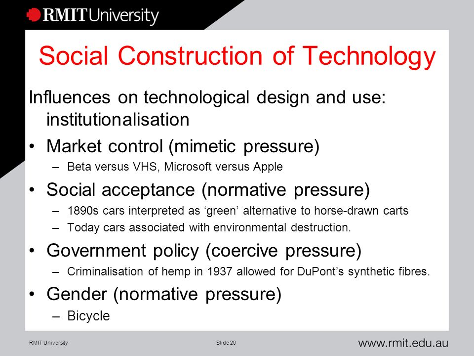 social construction of technology Social construction of technology (also referred to as scot) is a theory within the field of science and technology studiesadvocates of scot—that is, social constructivists-- argue that technology does not determine human action, but that rather, human action shapes technology.