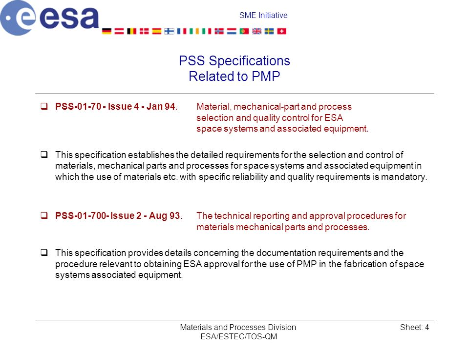 PSS Specifications Related to PMP