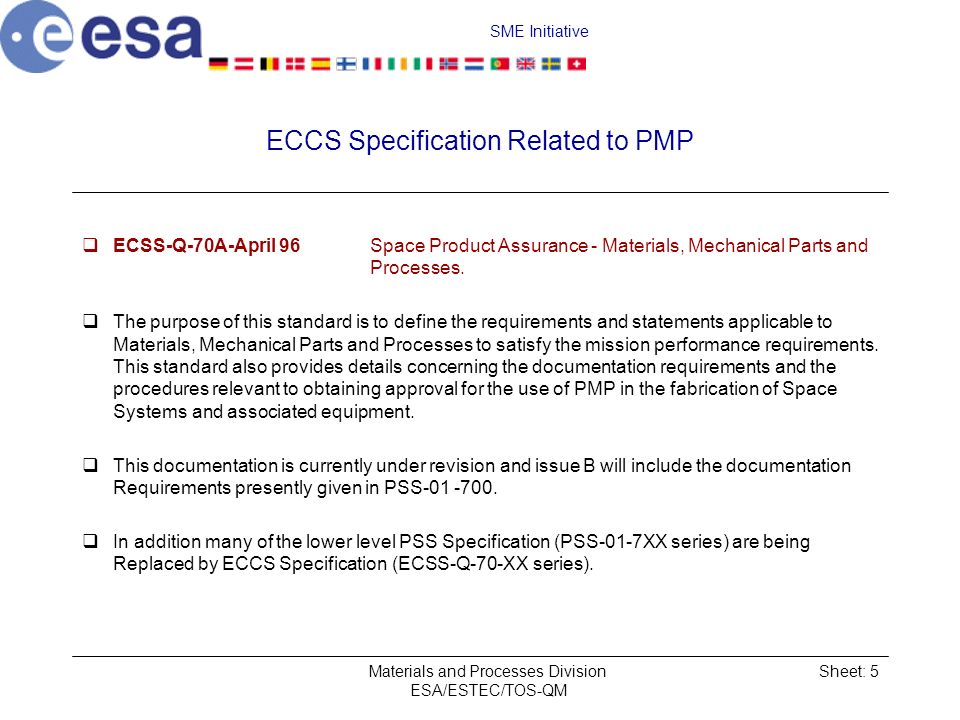 ECCS Specification Related to PMP