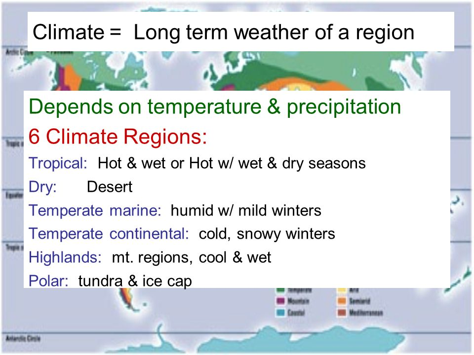 Climate = Long term weather of a region