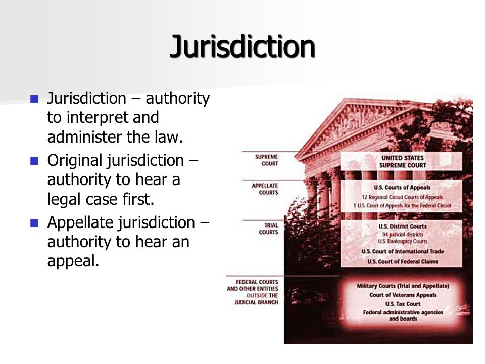 Jurisdiction Jurisdiction – authority to interpret and administer the law. Original jurisdiction – authority to hear a legal case first.