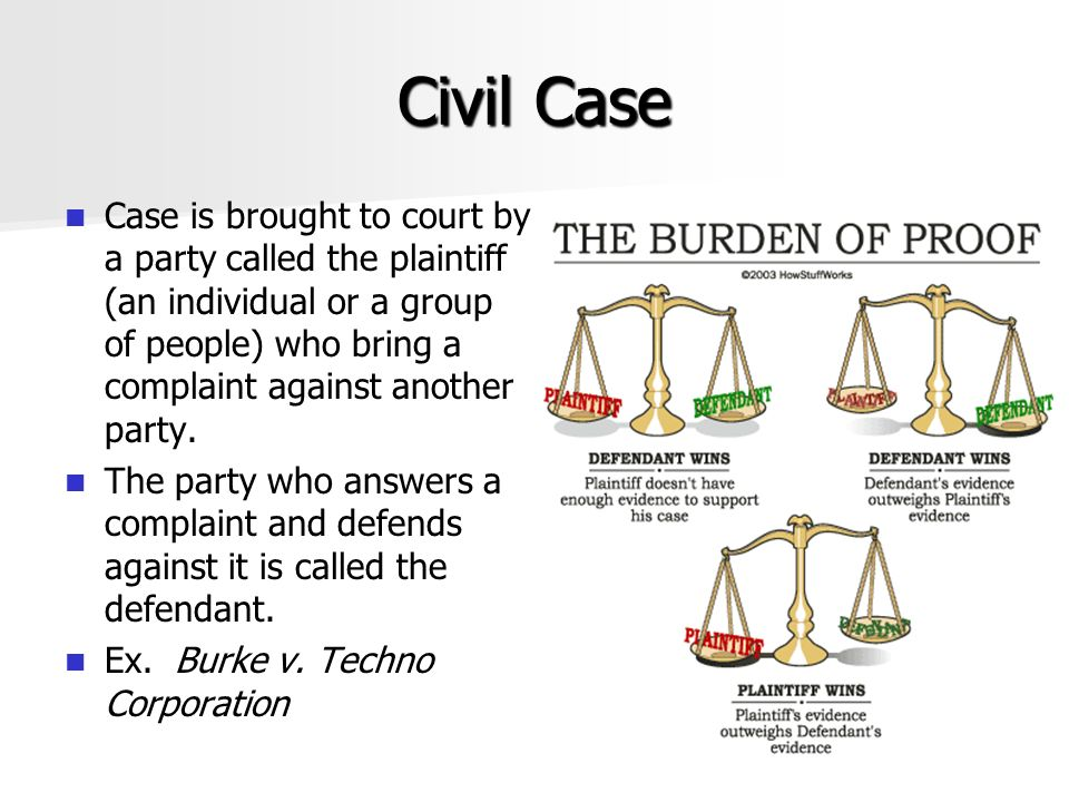 Civil Case Case is brought to court by a party called the plaintiff (an individual or a group of people) who bring a complaint against another party.