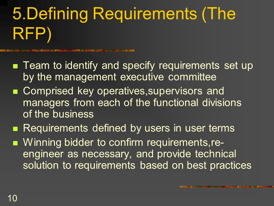 5.Defining Requirements (The RFP)
