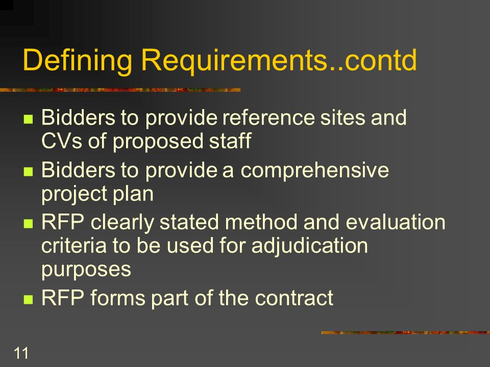 Defining Requirements..contd