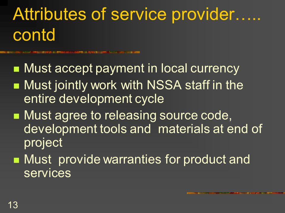 Attributes of service provider….. contd