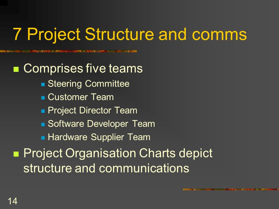 7 Project Structure and comms