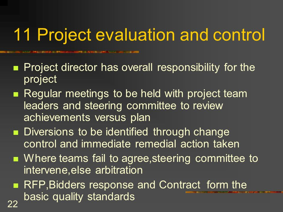 11 Project evaluation and control