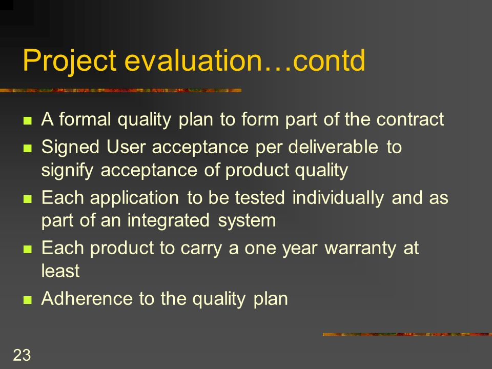 Project evaluation…contd
