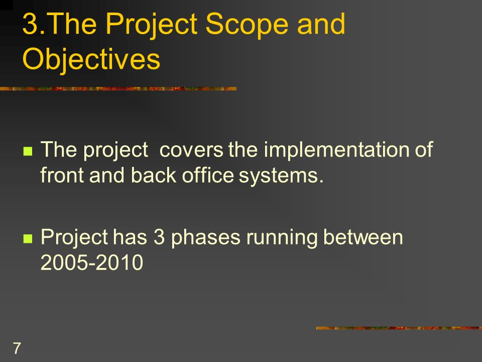 3.The Project Scope and Objectives