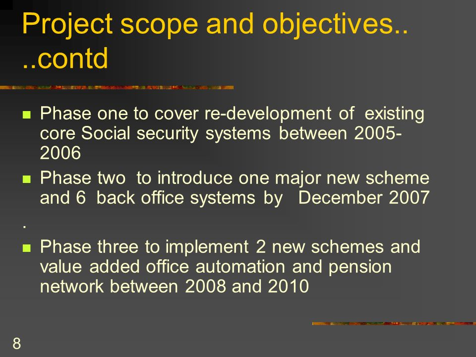 Project scope and objectives.. ..contd