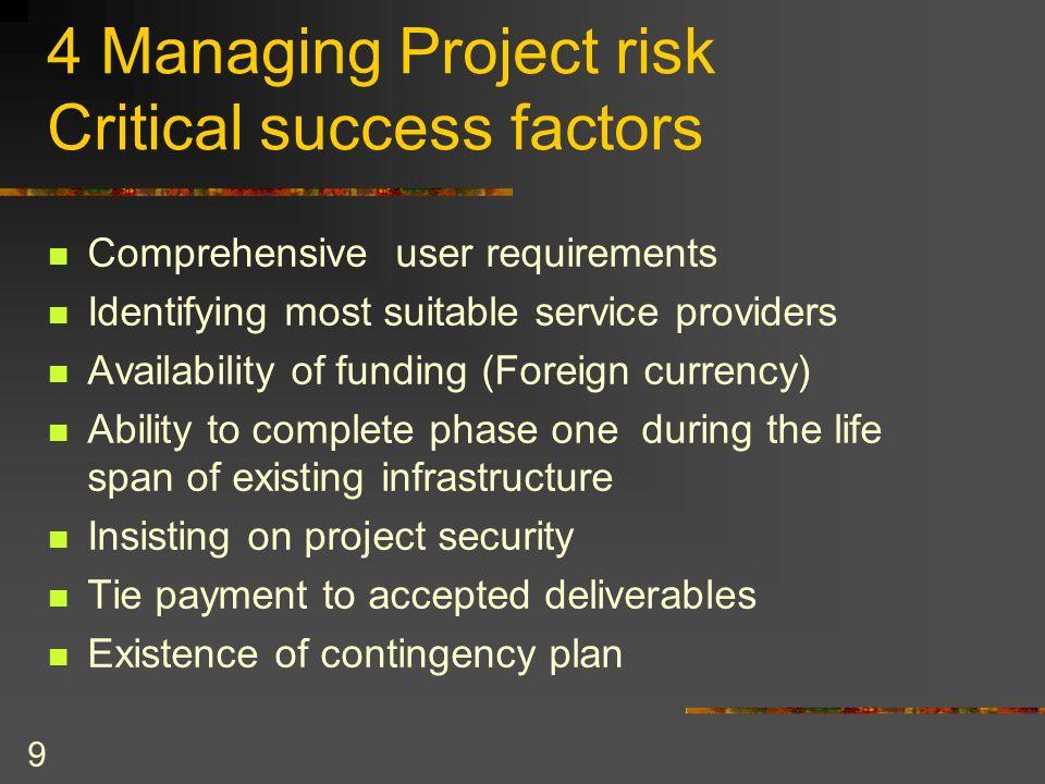 4 Managing Project risk Critical success factors